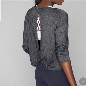 Athleta Gray Twist Back Long Sleeve Top